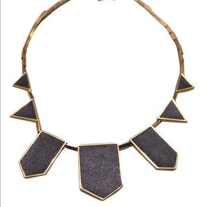 House of Harlow Black & Gold-Tone Leather Necklace